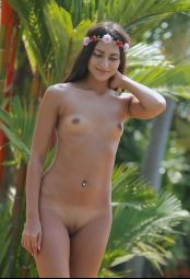 Nude Cira Nerri sunbathing next to pool #11