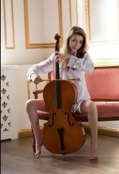 Classy gorgeous classy Milla playing on violoncello #1