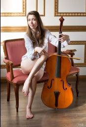 Classy gorgeous classy Milla playing on violoncello #3