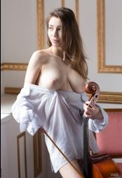 Classy gorgeous classy Milla playing on violoncello #4